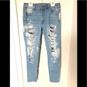 AE Distressed Super Stretch Jeans size 10